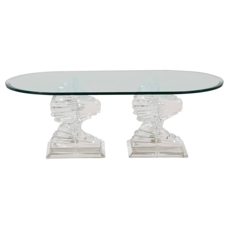 Pair Of Lucite Spiral Shaped Coffee Table Bases 1970s