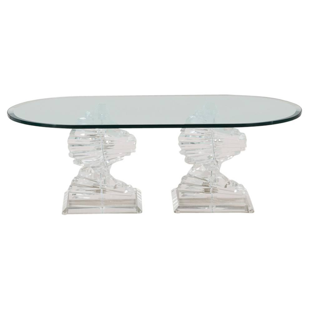 Pair Of Lucite Spiral Shaped Coffee Table Bases 1970s For Sale At 1stdibs