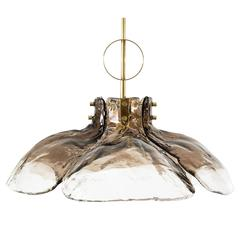 Kalmar Chandelier or Pendant Light Brass Smoked Murano Glass, 1970s, Austria