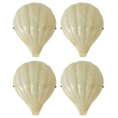 "Rare Set of Four Barovier e Toso ""Shell"" Wall Sconces"