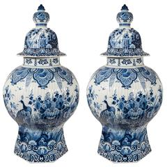 A Pair of Large Dutch Delft Blue and White Covered Vases