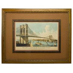 "The Great East River ""Brooklyn"" Suspension Bridge Lithograph by Currier & Ives"