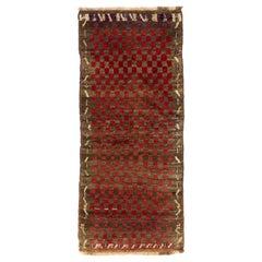 """Unique Chequered Turkish """"Tulu"""" Rug, circa 1950"""