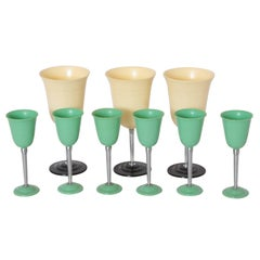 Machine Age Art Deco Nudawn Van Doren & Rideout Stemware Set for National Silver