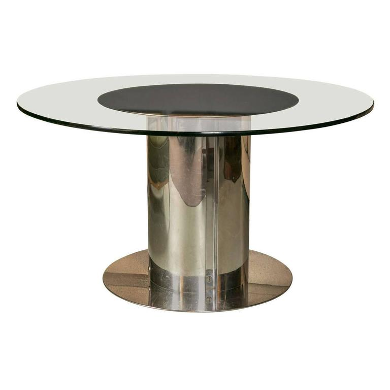 1980s Chrome and Glass Round Dining Table For Sale at 1stdibs : ORGBruetonChromeandGlassDiningTable1l from www.1stdibs.com size 768 x 768 jpeg 21kB