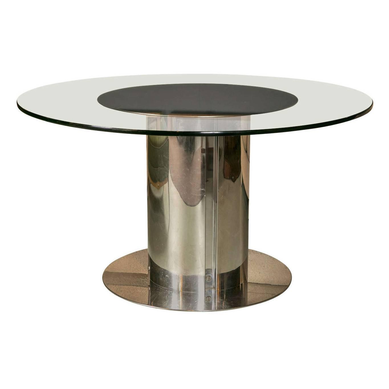 1980s chrome and glass round dining table for sale at 1stdibs for Glass dining table