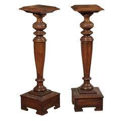 Pair of Edwardian Carved Wood Pedestals