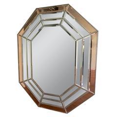 Italian Brass Framed Octagonal Paneled Mirror