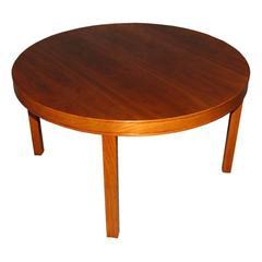 Swedish Modern Round Walnut End or Coffee Table by Carl Malmsten