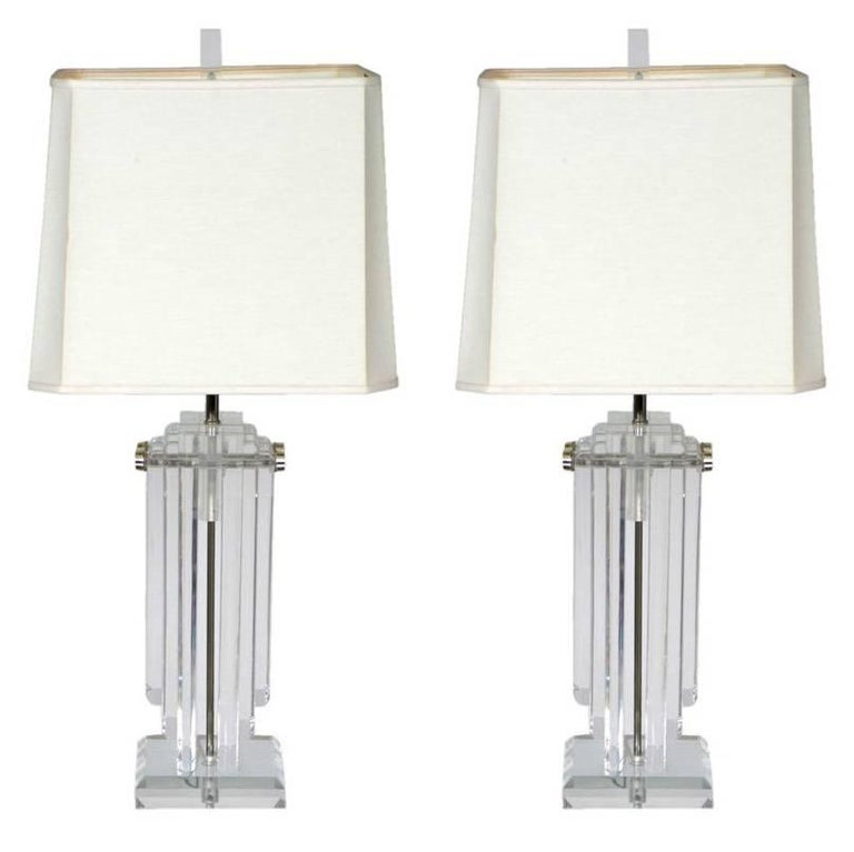 Pair of Heavy Stepped 1970s Lucite Lamps For Sale