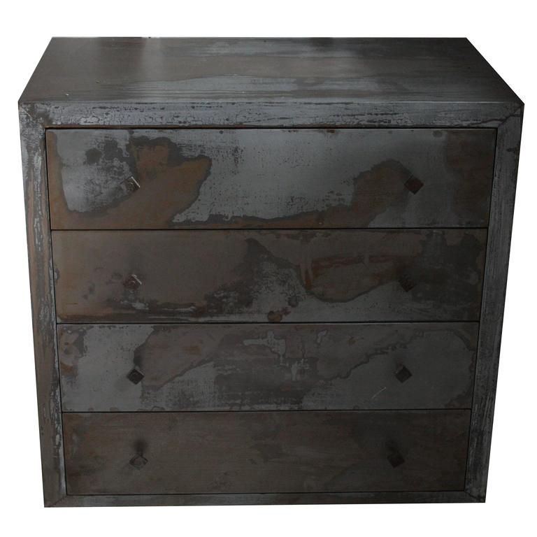 Acid Washed 1990s Metal Wrapped Beechwood Chest of Drawers, Belgium 1