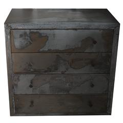 Acid Washed 1990s Metal Wrapped Beechwood Chest of Drawers, Belgium