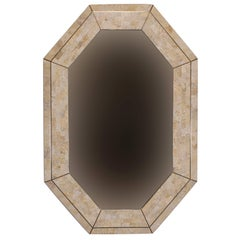Casa Bique Octagonal Tessellated Coral and Brass Mirror, 1980