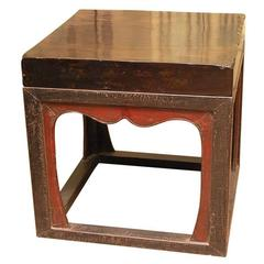 Mid 19thC. Q'ing Dynsty Stone Topped Lacquered Caligraphy Table