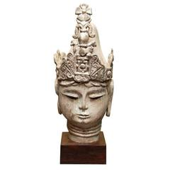 Late 19thC.Thai Silver Leafed Buddha Head on Wooden Stand