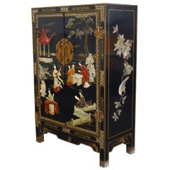 Chinese Black Lacquer Soapstone Scholars Cabinet
