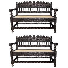 Very Rare Pair of Early 18th Indonesian Ebony Carved Settees