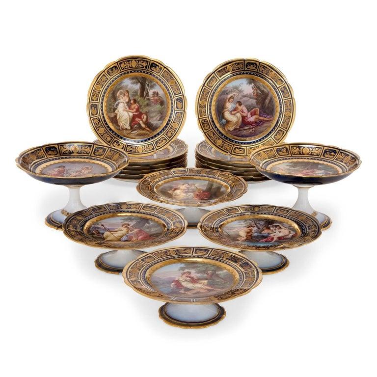 Fine Royal Vienna Porcelain 18-Piece Dessert Service For Sale