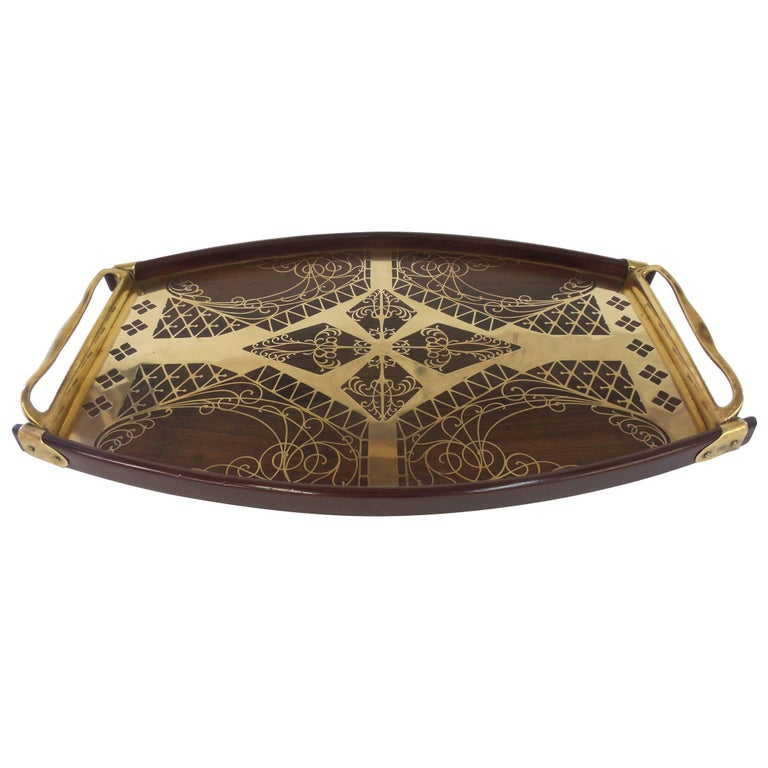 Brass and Rosewood Inlay Tray by Erhard & Sohne For Sale