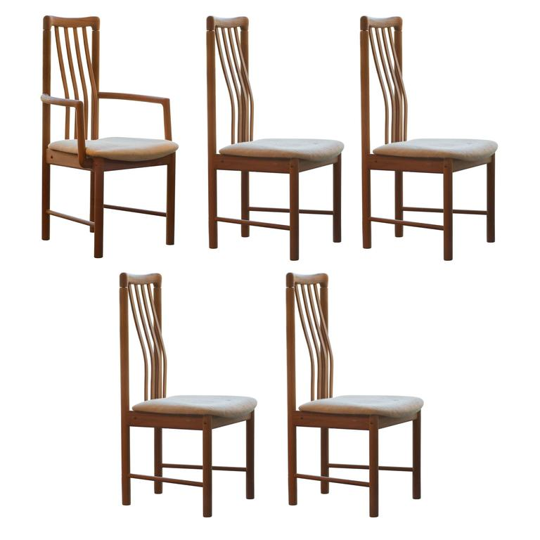 Delicieux Set Of Five Benny Linden Teak Dining Chairs For Sale