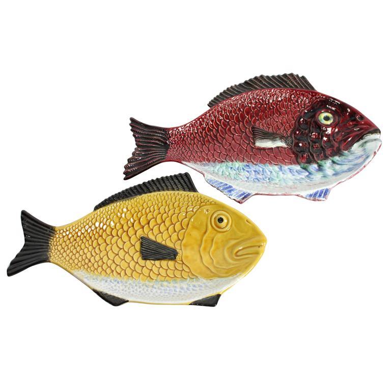 Mid-Century Portuguese Glazed Ceramic Fish Platters, circa 1960 at ...