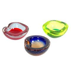 Trio of Galliano Ferro Controlled Bubbles Murano Art Glass Bowls