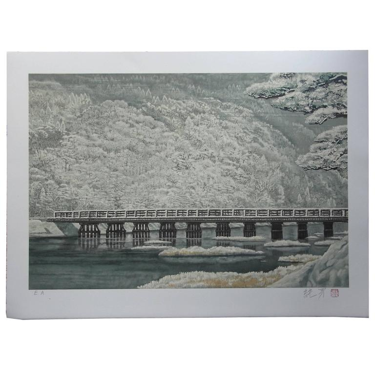 Color Lithograph of Arashiyama in the Snow, by Sumio Goto, Japanese Painter