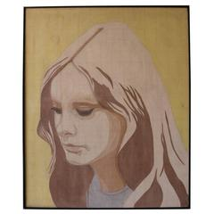 Vintage Yellow and Tan Portrait of a Woman by Henry Kalt in Style of Alex Katz