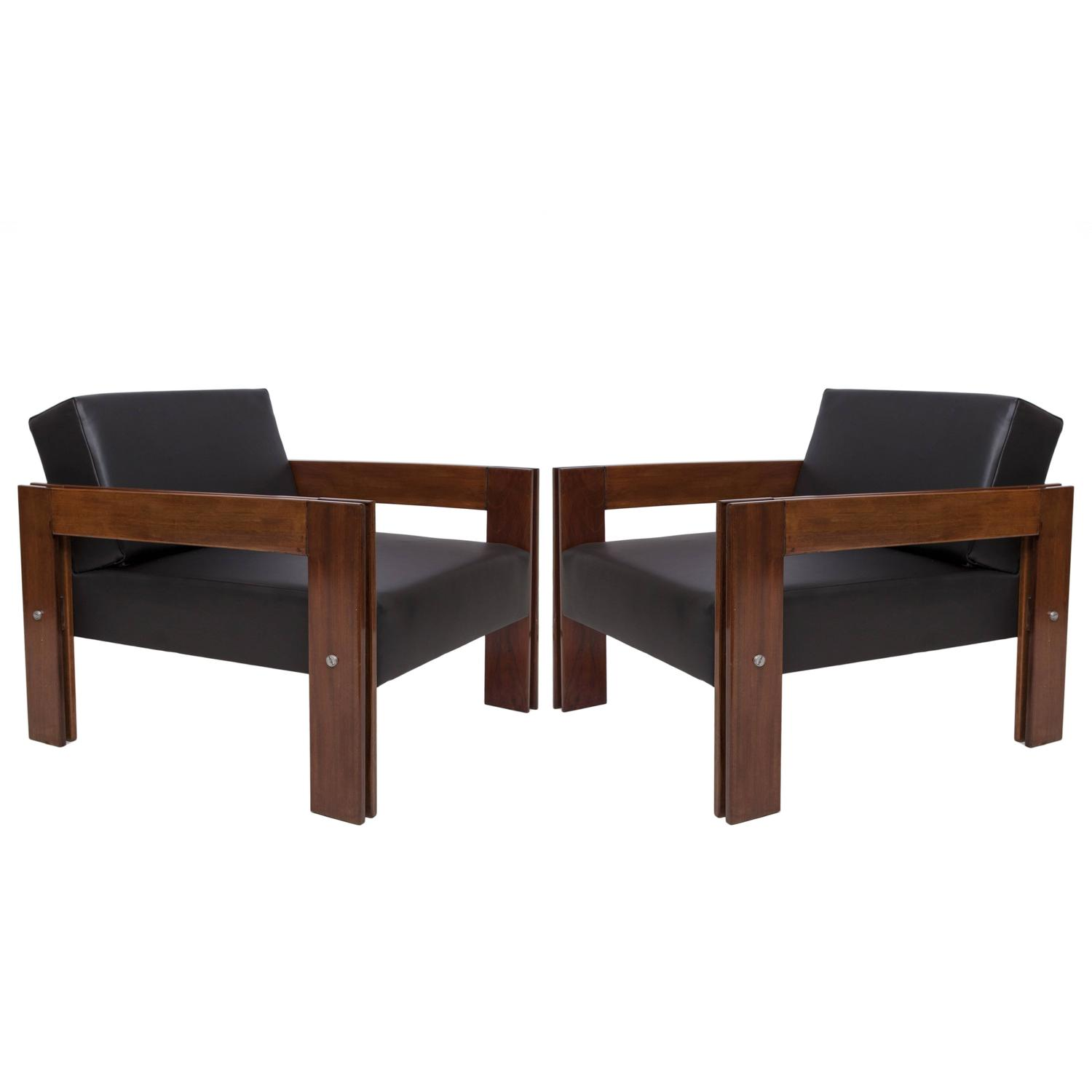 Pair Of Percival Lafer Jacaranda Armchairs And Chaise