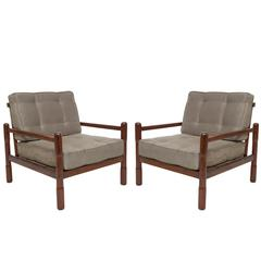 Pair of Mid-Century Brazilian Caviuna Armchairs in Moss-Green Polyester-Suede