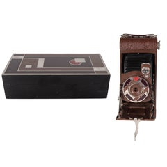 Important Art Deco Enamel and Chrome Box Fitted Camera by Walter Dorwin Teague