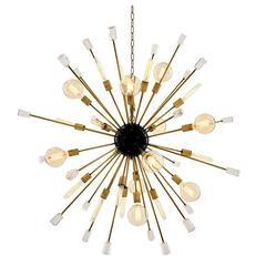 Chandelier Black and Glass Finish Sputnik