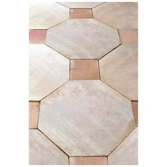 Octagonal Limestone Paving with Red Terra Cotta, 19th Century