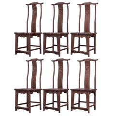 Chinese Yoke Back Officials Hat Chairs Set of Six