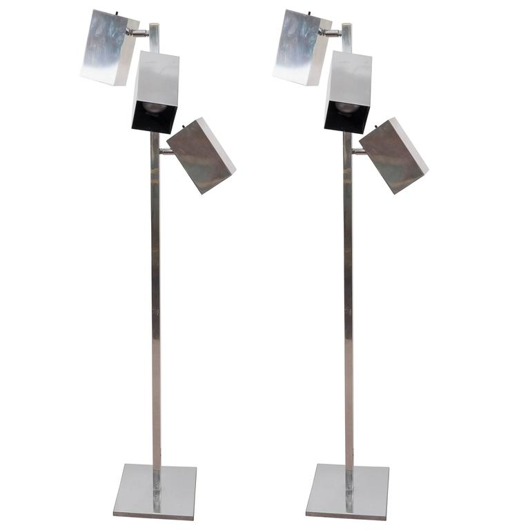 A Pair of  Koch and Lowy Modernist Chrome Floor Lamp