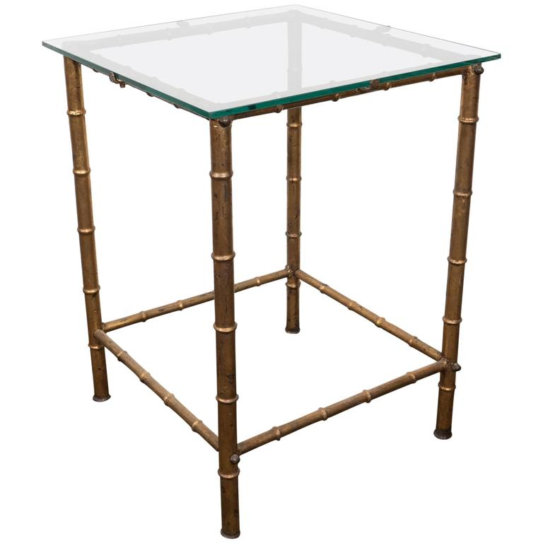 Midcentury Gold Leaf Bamboo Motif Side Table With Glass Top By LaBarge 1