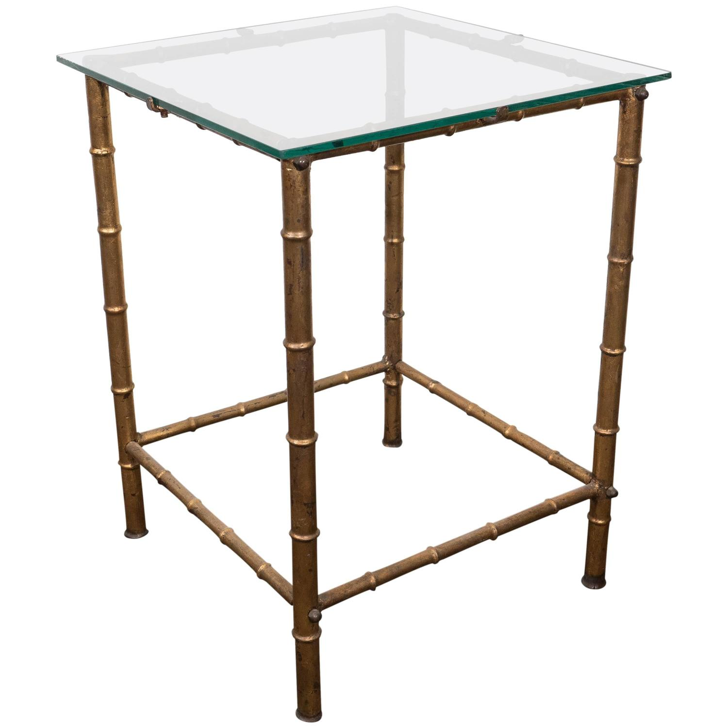 Midcentury Gold Leaf Bamboo Motif Side Table with Glass Top by