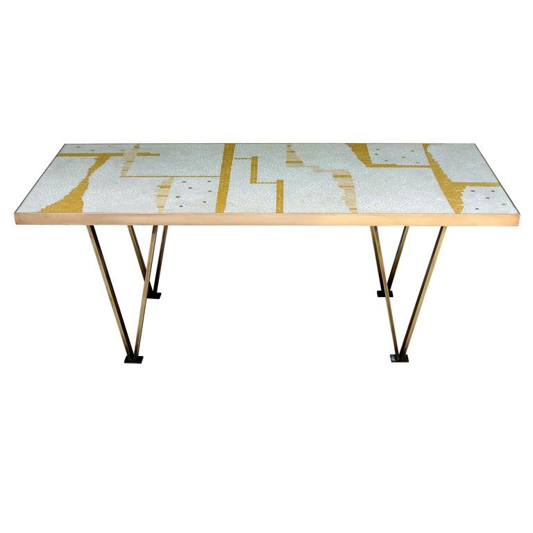 Ceramic tile coffee table handcrafted  bronze framed mid-century from an unknown California studio .  An abstract mosaic of sienna, umber and alabaster on a background of white tiles. with a scattering of gold mirrored tiles  The table is in