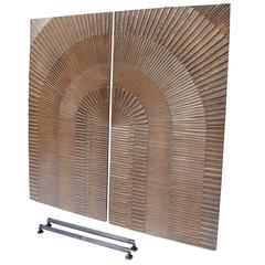 Pair of Brutalist Panels or Doors by Billy Joe Mccarroll and David Gillespe