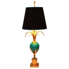 Blue and Golden French Vintage Table Lamp in the Style of Maison Charles 1970s