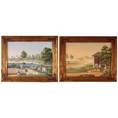 Finely Painted Pair of China Trade Watercolors in Period Frames