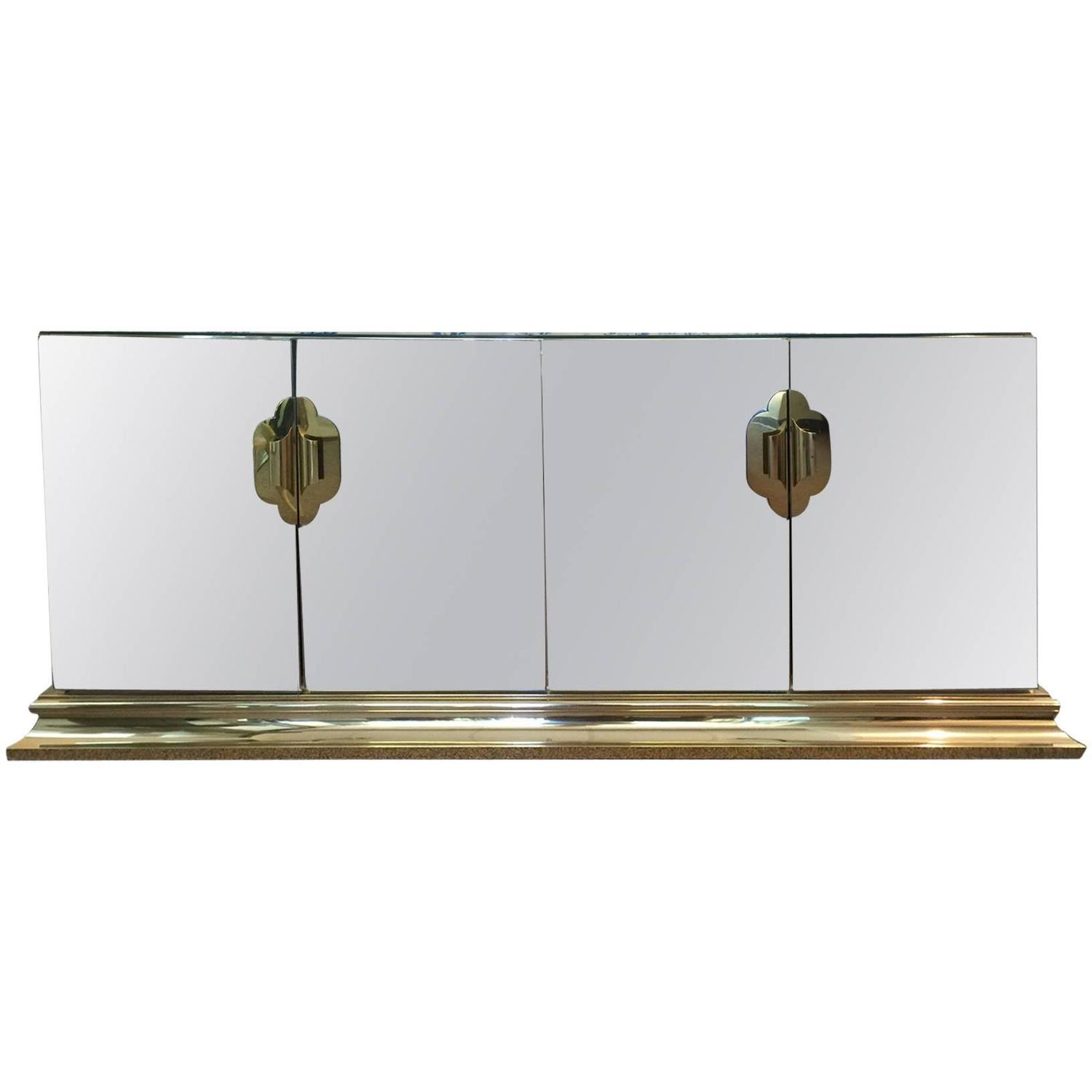 Furniture Sales Raleigh Nc Brass and Mirror Four-Door Credenza by Ello C. at 1stdibs