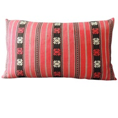 Turkish Woven and Embroidery Red Bolster Decorative Pillow