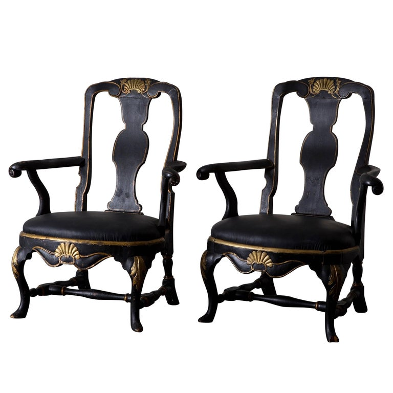 Armchairs Assembled Pair Swedish Rococo, 18th Century Period Black Sweden For Sale