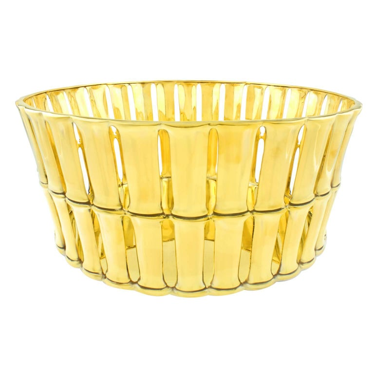 Tiffany & Co. Gilded Sterling Bamboo Pattern Centerpiece For Sale