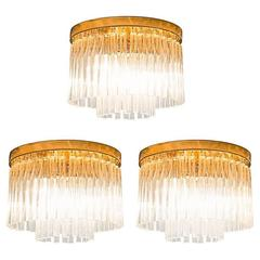Set of Three Glass and Brass Ceiling Lights