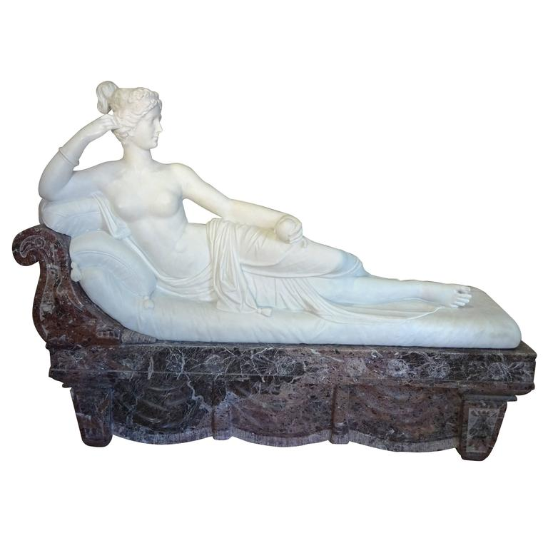 Pauline Borghese Marble Sculpture For Sale