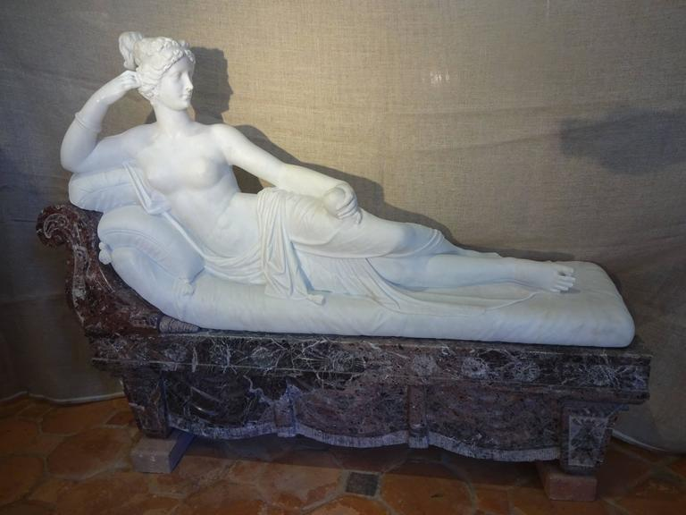 Pauline Borghese Marble Sculpture For Sale 2