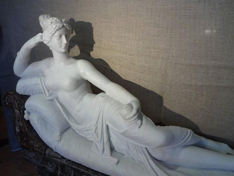Pauline Borghese Marble Sculpture For Sale 3