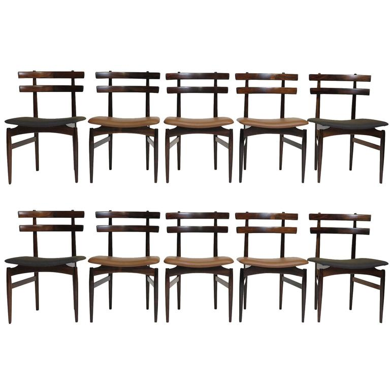 Poul Hundevad Sculpted Rosewood Dining Chairs For Sale